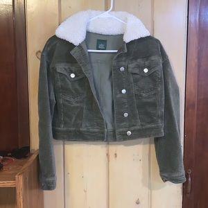 Olive Green Corduroy Cropped Jacket ✨